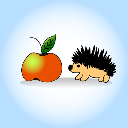 Hedgehog and apple. Vector illustration. Hand drawing.