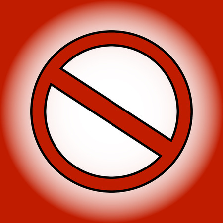 Red prohibition sign on gradient background.