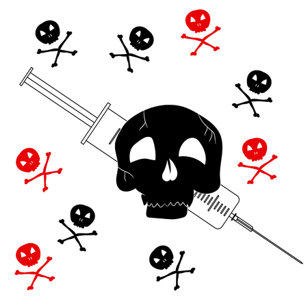 Pattern with the image of Jolly Roger with a syringe. Precaution from drugs. Vector illustration. 向量圖像