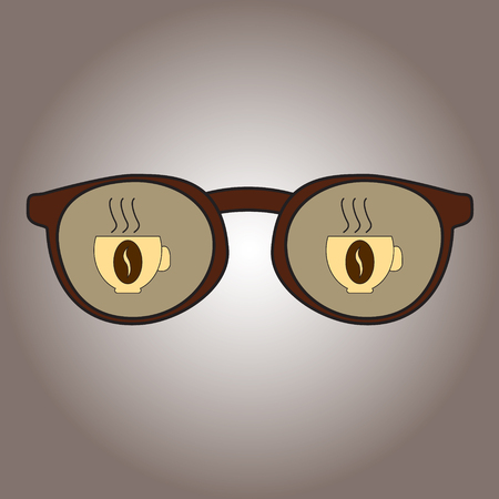 Glasses with reflection in them mugs with coffee. Icons of coffee-dependence. Vector illustration.