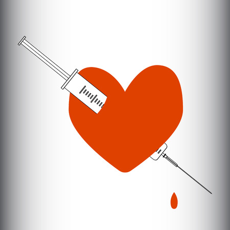 Heart pierced with a syringe. Obsession, love, passion, dependence. Vector illustration