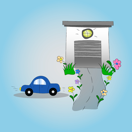 Car and garage. Childish illustration. Vector graphics. Hand drawing.