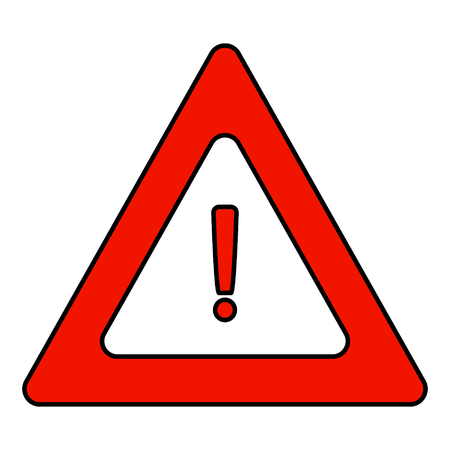 Road triangular warning sign. A triangle icon with an exclamation point. Vector graphics.