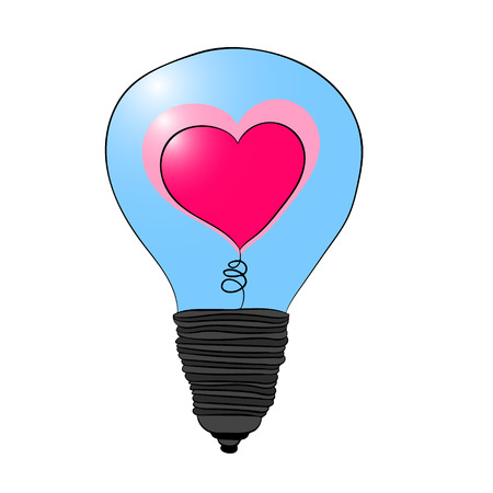 A light bulb with a heart inside. Love lights up. Illustration for Valentine s day. Vector drawing