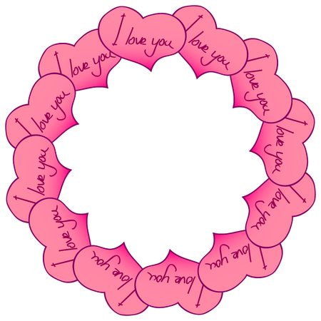 Circular frame of hearts with an inscription. I love you. Vector graphics.