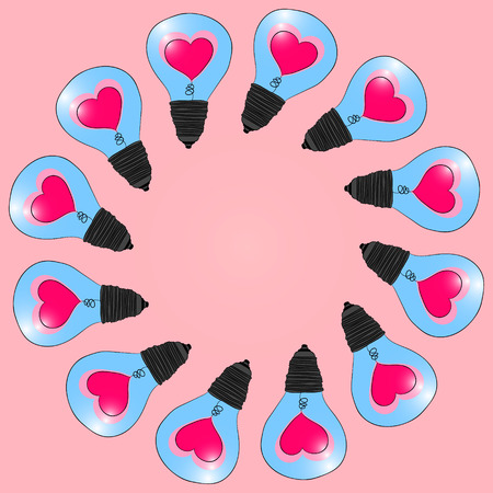 The frame to the drew of the holy valentine. Lamps with a heart inside. Vector graphics