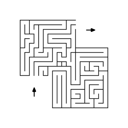 simple labyrinth of black lines with two arrows.