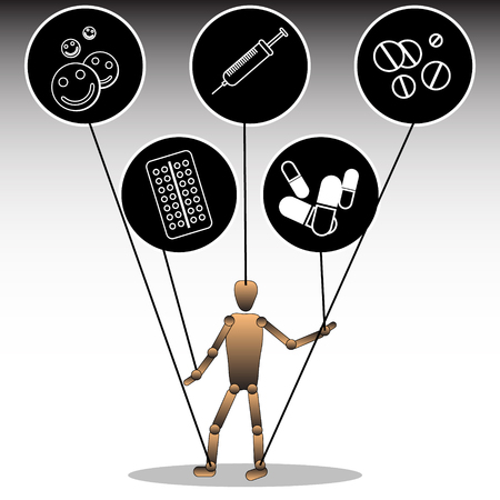 An illustration on the topic of dependence on pharmaceuticals. A puppet tied to icons with medical preparations. Vector graphics.