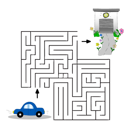 Children's illustration with a car, garage and labyrinth. Help the car find its way to the garage vector graphics hand drawing.