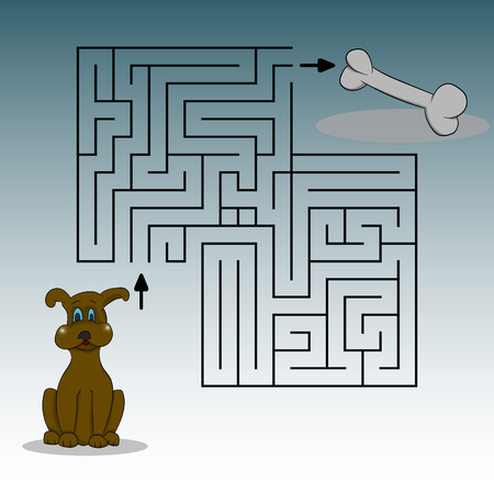 Picture depicting a dog, a bone and a labyrinth. Help to find the dog the way vector graphics hand drawing.