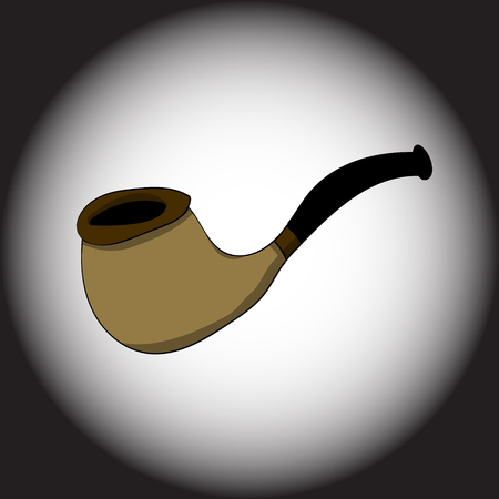 Smoking tube on a black gradient background. Vector illustration. Hand drawing