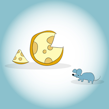 Image of mouse and cheese head. Vector illustration. Hand drawing 向量圖像