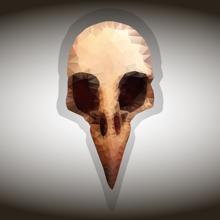 Bird  skull. Vector drawing in the style of triangulation.