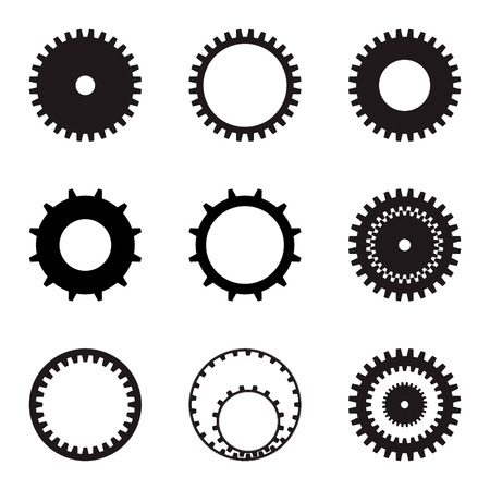 Set of gears. Black silhouettes on a white background. Vector graphics