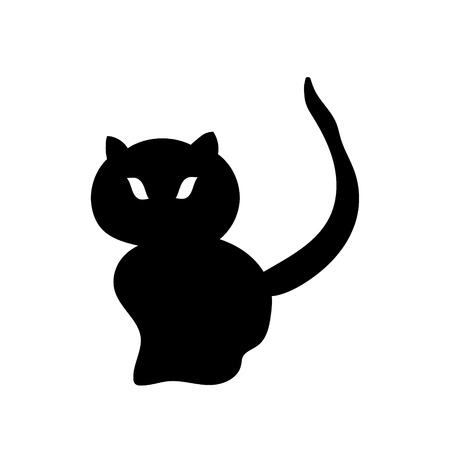 Silhouette of a black cat. Vector illustration Hand drawing.