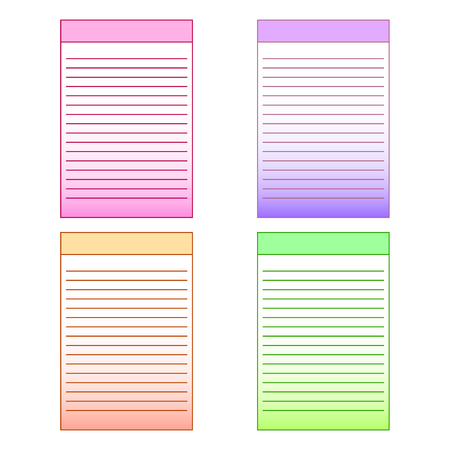 Set of multi-colored page templates for notepad. Vector graphics illustration.