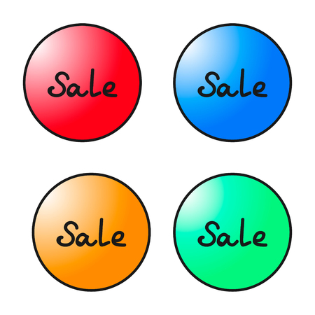 Set of round colorful sale tags. Vector graphics illustration.