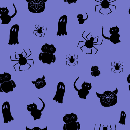 A Seamless pattern with silhouettes on a theme of halloween. Vector illustration