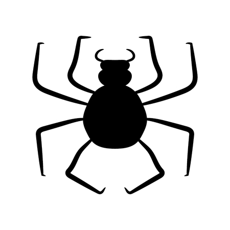 Black spider on a white background. Vector illustration. Hand drawing 向量圖像