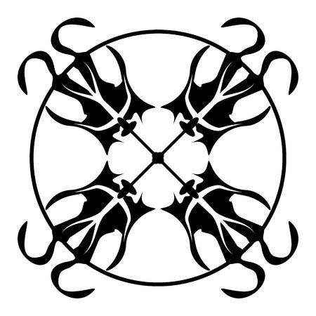 Tile with monochrome monogram pattern. Vector graphics