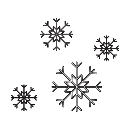 Snowflakes. simple icon without fill. Vector graphics.
