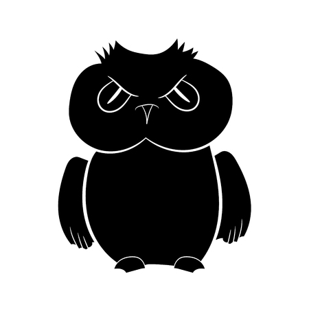 Illustration in the form of a black silhouette of an owl Vector graphics.