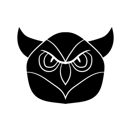 Illustration in the form of a black silhouette of an owl. Vector graphics. Hand drawing