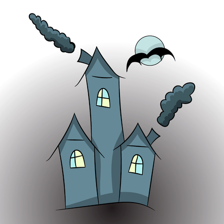 witch castle. a cartoon picture of Halloween. vector illustration. hand drawing