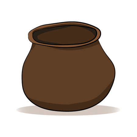 Clay brown pot on a white background. Vector illustration. Hand drawing