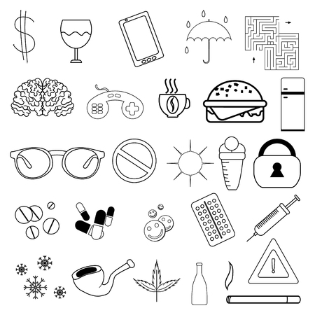set of simple linear icons without filling. Badges on the topic of addiction, medicine and other. Vector graphics 向量圖像