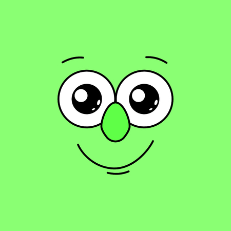 Smiling face with big eyes on a green background. Vector illustration 向量圖像