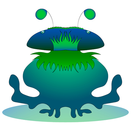 fantastic water monster. Vector graphics. Hand drawing. Illustration
