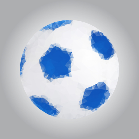 Image of a soccer ball in the triangulation style. Gray gradient background. Vector graphics