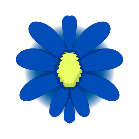 simple drawing of a blue flower. Vector graphics. Hand drawing