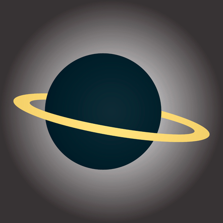 Image of a blue planet with a ring. Illustration on the theme of the cosmos. Vector graphics 向量圖像