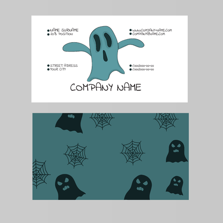 Template of a business card on a theme of a halloween with the image of a ghost. Vector illustration. Hand drawing