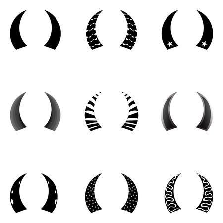set of painted horns with different patterns. Vector graphics.