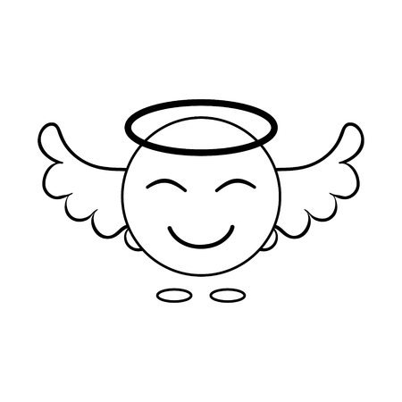 simple image of an angel smiley with wings. Linear icon. Vector graphics