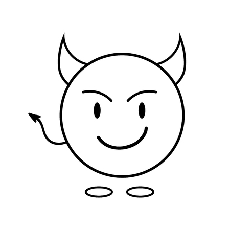 simple smiley as a devil. Linear icon. Vector graphics