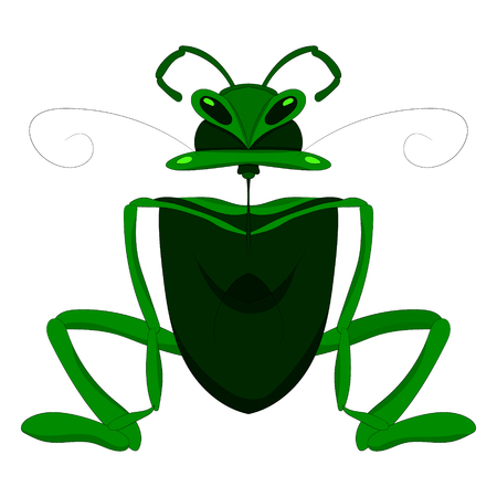Child s drawing of a mantis or grasshopper. Vector graphics. Hand drawing