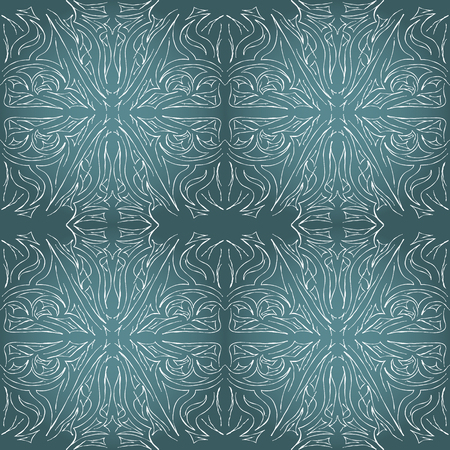 Seamless aqua tile with lacy patterns. Hand drawing in the style of sentangle. Suitable for sheathing or wrapping. 向量圖像