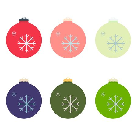 A set of Christmas decorative balls in the style of flat. Vector graphics. 向量圖像