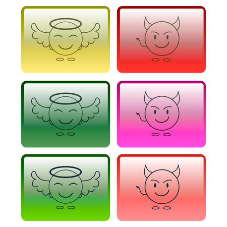 Set of multicolored buttons with the image of an angel and a demon. Vector graphics.