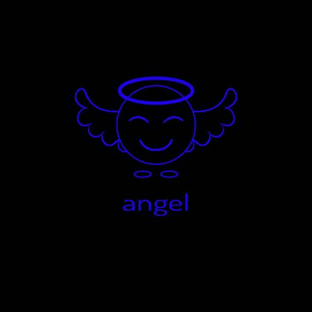 Logo in the form of a linear angel icon. Vector graphics. 向量圖像