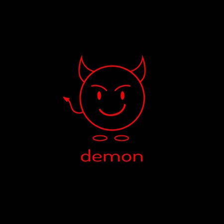 Logo as a linear devil icon. Vector graphics. Çizim