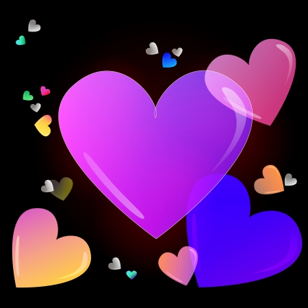 Color valentine card with hearts on black Vector