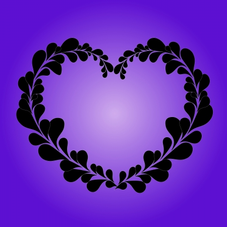 lila: Lovely Valentine heart made from black leafs on lila background