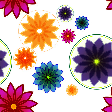 prom: Seamless floral background or pattern made prom few color flowers Illustration