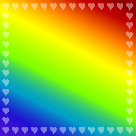Rainbow color background with small hearts  Vector