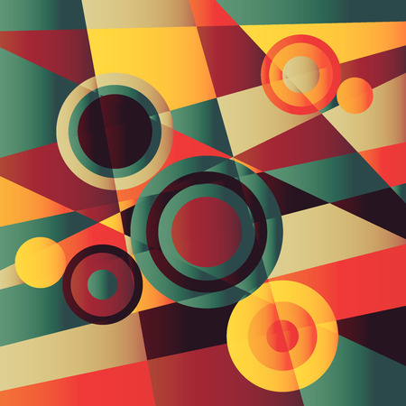 Retro colored background with circles Vector